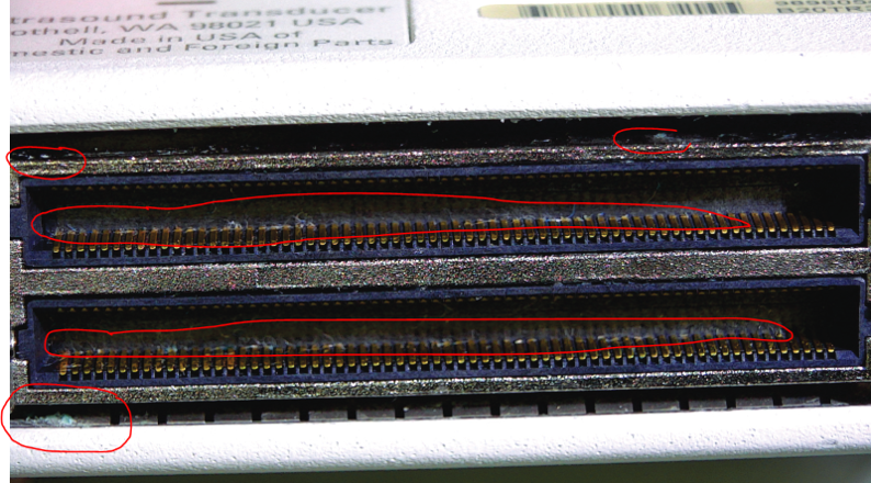 Corrosion and debris on and in pins and pinbank on the Philips X5-1