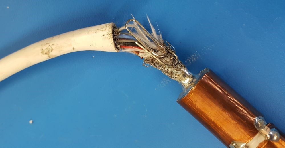 Paperclip splicing wires together in an MRI Coil