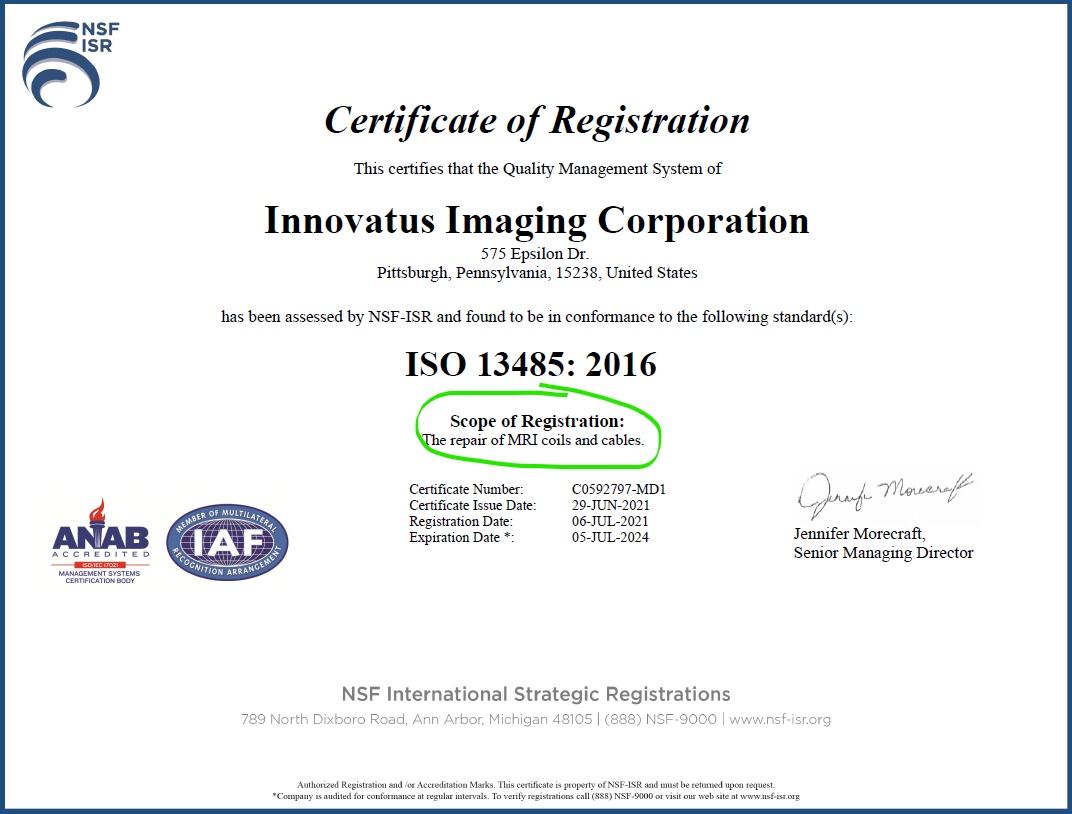 Photo of ISO 13485 Certificate for MRI Coil Repair